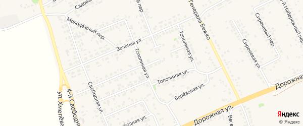 2-й Тополиный переулок на карте села Федосеевки с номерами домов
