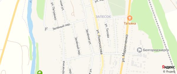 Зеленая улица на карте поселка Чернянка с номерами домов