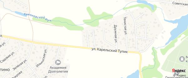 Солнечная улица на карте садового некоммерческого товарищества Дружбы с номерами домов