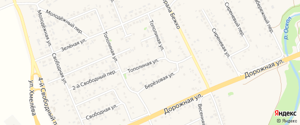 Тополиная улица на карте села Федосеевки с номерами домов