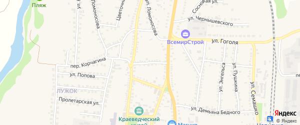 Комсомольский переулок на карте поселка Чернянка с номерами домов