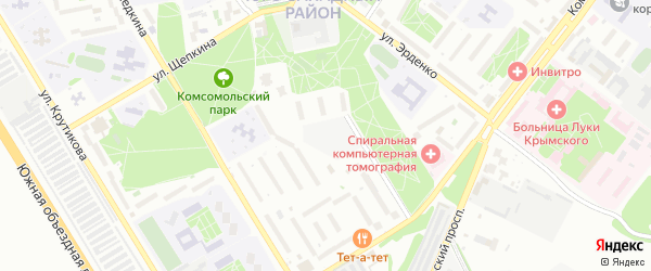 Парковый микрорайон на карте Старого Оскола с номерами домов