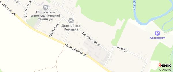 Центральная улица на карте села Ютановки с номерами домов