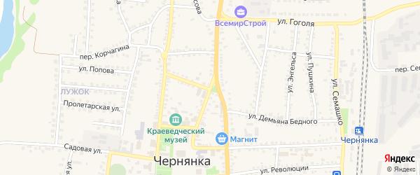 Октябрьская улица на карте поселка Чернянка с номерами домов