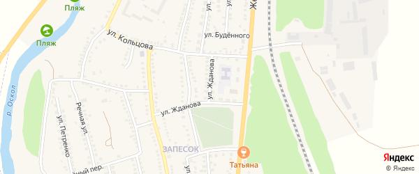 Улица Жданова на карте поселка Чернянка с номерами домов