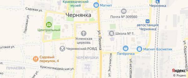 Строительный проезд на карте поселка Чернянка с номерами домов