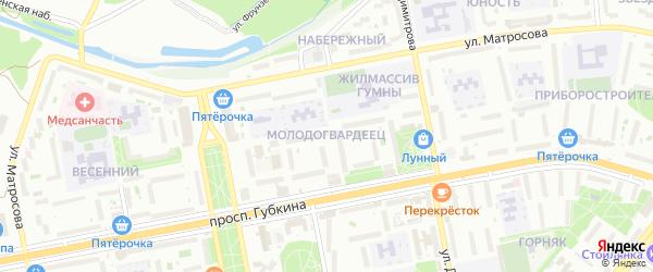 Микрорайон Молодогвардеец на карте Старого Оскола с номерами домов