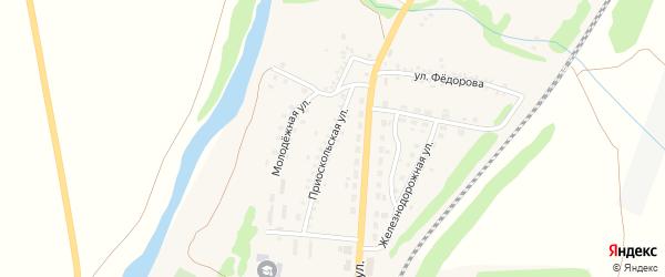 Приоскольская улица на карте поселка Чернянка с номерами домов