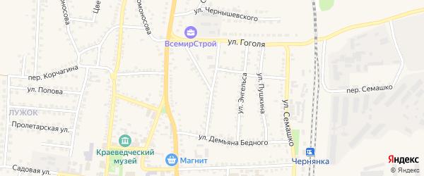 Улица М.Горького на карте поселка Чернянка с номерами домов