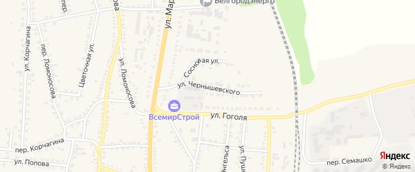 Улица Чернышевского на карте поселка Чернянка с номерами домов
