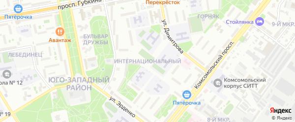 Интернациональный микрорайон на карте Старого Оскола с номерами домов