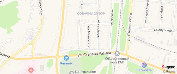 Переулок Маяковского на карте поселка Чернянка с номерами домов