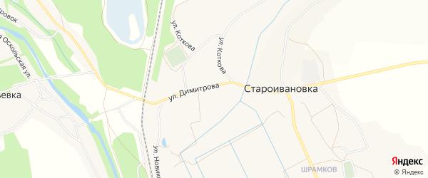 Карта села Староивановки в Белгородской области с улицами и номерами домов
