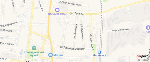 Улица Энгельса на карте поселка Чернянка с номерами домов