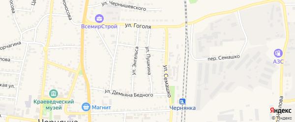 Улица Пушкина на карте поселка Чернянка с номерами домов