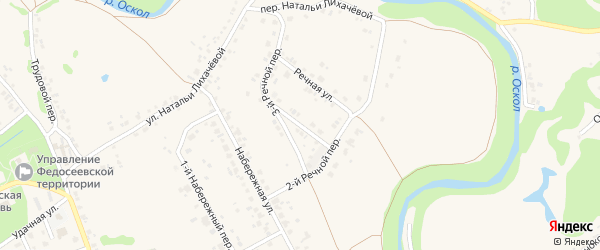 1-й Речной переулок на карте села Федосеевки с номерами домов