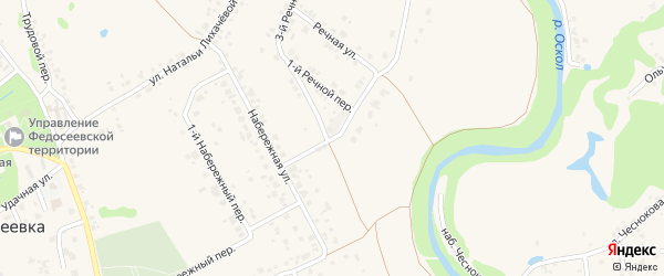 2-й Речной переулок на карте села Федосеевки с номерами домов