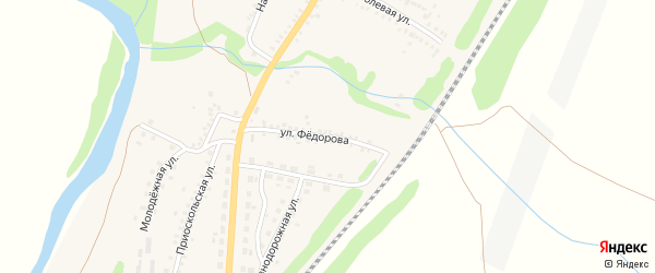 Улица Федорова на карте поселка Чернянка с номерами домов