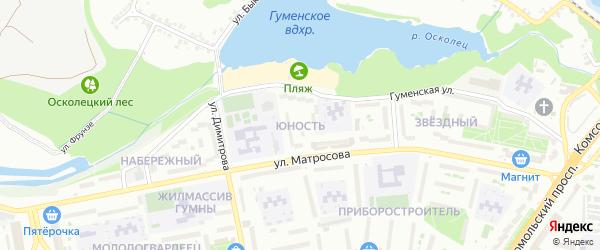 Микрорайон Юность на карте Старого Оскола с номерами домов