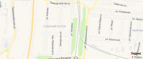 Улица Чапаева на карте поселка Чернянка с номерами домов
