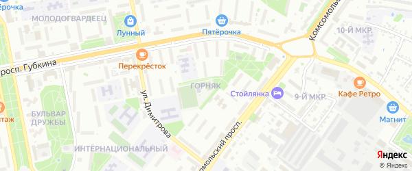 Микрорайон Горняк на карте Старого Оскола с номерами домов