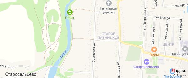 Советская улица на карте поселка Пятницкого с номерами домов