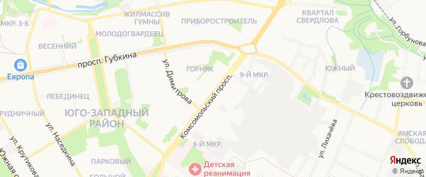 СТ Горняк-2 на карте Белгорода с номерами домов