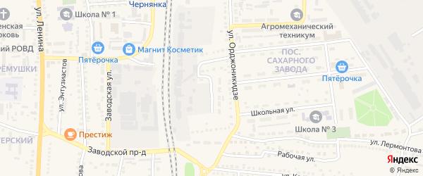 Элеваторный тупик на карте поселка Чернянка с номерами домов