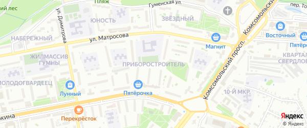Микрорайон Приборостроитель на карте Старого Оскола с номерами домов