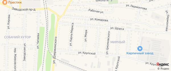 Улица Мира на карте поселка Чернянка с номерами домов