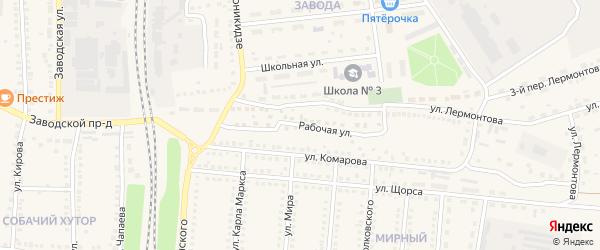 Рабочая улица на карте поселка Чернянка с номерами домов