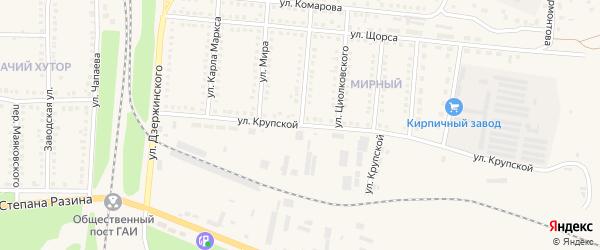 Улица Крупской на карте поселка Чернянка с номерами домов