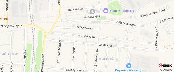 Улица Комарова на карте поселка Чернянка с номерами домов