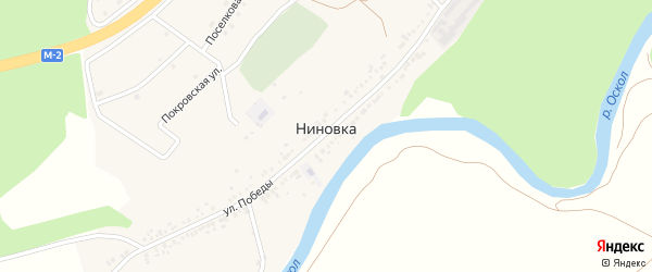 Заповедная улица на карте села Ниновки с номерами домов