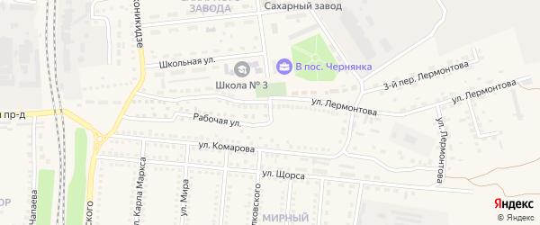 Рабочий переулок на карте поселка Чернянка с номерами домов