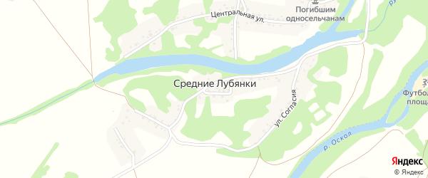 Центральная улица на карте села Средние Лубянки с номерами домов