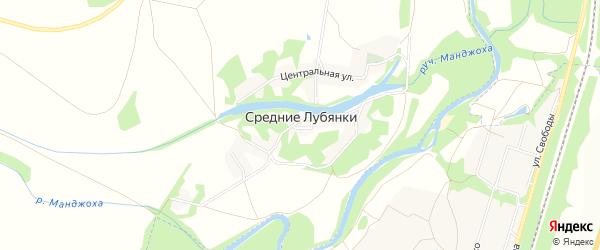 Карта села Средние Лубянки в Белгородской области с улицами и номерами домов