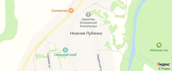 Дорожная улица на карте села Нижние Лубянки с номерами домов