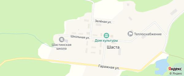 Школьная улица на карте поселка Шасты с номерами домов