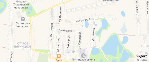 Зеленая улица на карте поселка Пятницкого с номерами домов