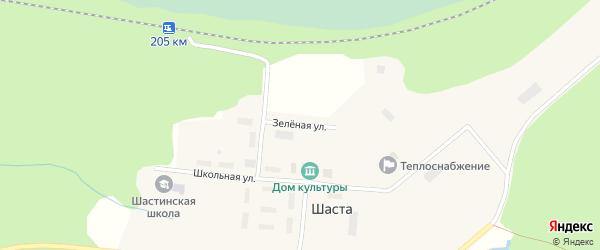 Зеленая улица на карте поселка Шасты с номерами домов