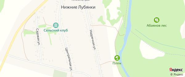 Надречная улица на карте села Нижние Лубянки с номерами домов