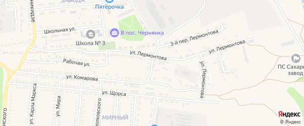 Переулок 1-й Лермонтова на карте поселка Чернянка с номерами домов