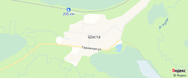Карта поселка Шасты в Архангельской области с улицами и номерами домов