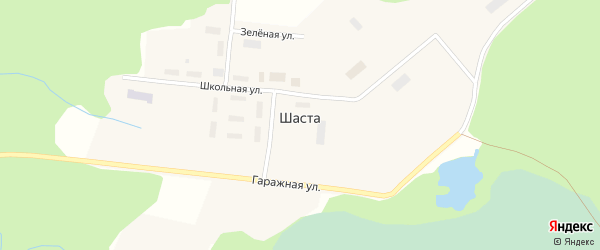 Гаражная улица на карте поселка Шасты с номерами домов
