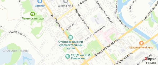 Интернациональный переулок на карте Старого Оскола с номерами домов
