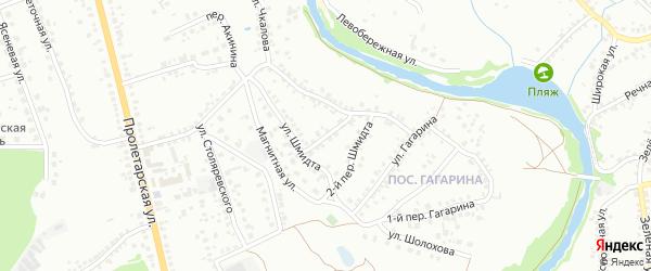 Переулок 1-й Шмидта на карте Старого Оскола с номерами домов