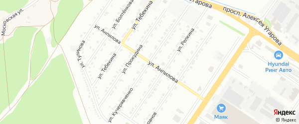 Улица Анпилова на карте Старого Оскола с номерами домов