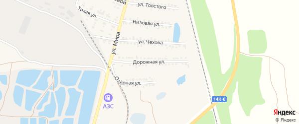 Дорожная улица на карте поселка Пятницкого с номерами домов