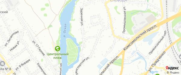 Заречный переулок на карте Старого Оскола с номерами домов